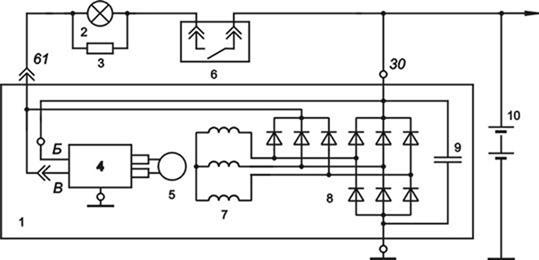 Реле регулятор схема подключения уаз